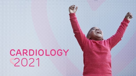 Cardiology 2021 logo with child celebrating