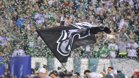 Eagles team flag waving