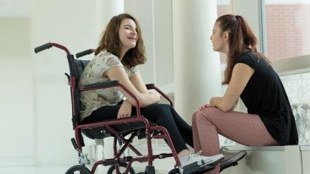 Girls talking and smiling
