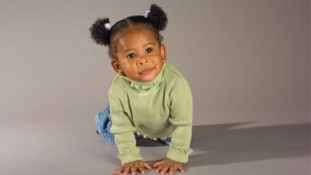Little girl crawling