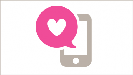 Smart phone with heart in speech bubble