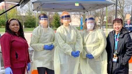 Group of caretakers in PPE
