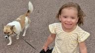 Amelia walking her dog