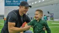 Franco with Eagles TE Brent Celek