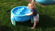 avery playing in pool