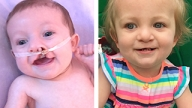 Sophia as an infant and now a toddler