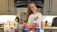 Grace with her favorite foods
