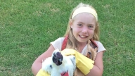 Josie holding her pet chicken