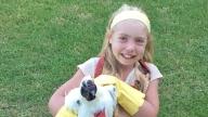 Josie holding her pet chicken