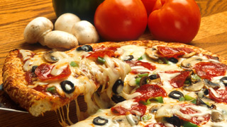 Pizza with vegetables and toppings
