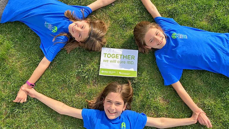 Walk for Hope virtual participants playing in the grass